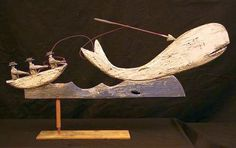 whalers harpooning whale ...antique woodcarving.