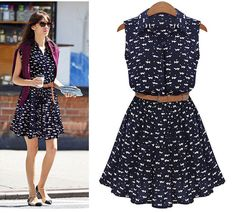 New Fashion Women Summer Boho Sleeveless Vest Cat Footprints Party Mini Dress #Generic #Sundress #Casual