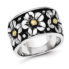 West Coast Jewelry Sterling Silver Rhodium Plated Childs White /& Yellow Enamel Daisy Ring
