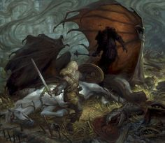 Eowyn and the Nazgul by Donato Giancola (for all you noobs who don't know what this is, it's from Lord of the Rings)