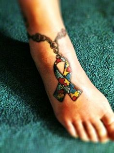 "Autism Awareness anklet tat. ""For my granddaughter"""