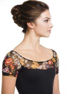 made in Canada - 114IF Cap Sleeve w Italian Floral Black Front Close Up Leotard Fashion Dancewear