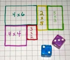 array/multiplication math game: Roll the dice and draw the area array on your own grid - first to fill it wins. Or 2 players choose a different coloured pen each, use one grid and the player who cannot complete the last array is the loser. Math Measurement, Math Multiplication, Math Resources, Math Activities, Math Workshop, Homeschool Math, Homeschooling, Elementary Math, Math Classroom