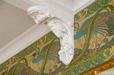 A Victorian Peacock Frieze - available from Bradbury & Bradbury - and the border wallpaper! So pretty.