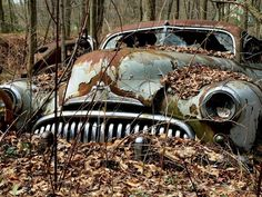 Abandoned Cars Regained by Nature - Sortrature Abandoned Cars, Abandoned Buildings, Abandoned Places, Abandoned Vehicles, Photo Post Mortem, Vintage Cars, Antique Cars, Rust In Peace, Rusty Cars