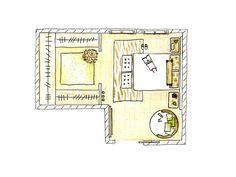 Plano de distribución de un dormitorio con vestidor