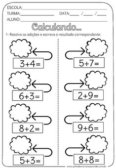 Addition And Subtraction Worksheets, 2nd Grade Math Worksheets, Preschool Worksheets, Math For Kids, Fun Math, Build Math, Kids Homework, Teaching Aids, Kids Learning Activities