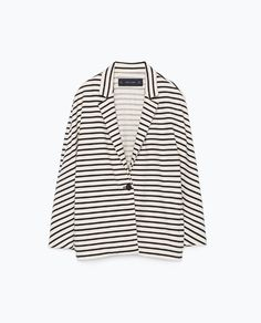 Image 8 of STRIPED VELOUR BLAZER from Zara Striped Jacket, Striped Blazer, Zara New, Zara Women, Blazer Jacket, Jackets For Women, Polyvore, Tops, Woman