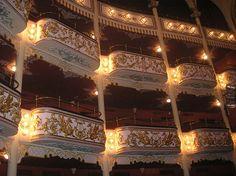 The National Theater (Teatro Nacional) balconies (palcos) located in el Casco Viejo, now called Casco Antiguo.