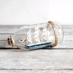 Vintage Ship in a Bottle by lacklusterco on Etsy, $18.