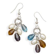 Fashion French Wire Earrings with Multicolor Glass Beads NEW #SilverStarsCollection #DropDangle
