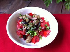 Salad with eggplant and bacon