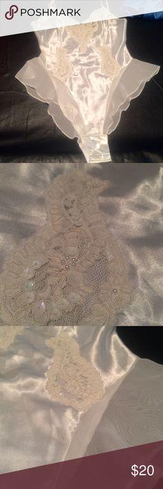 vintage Victoria's Secret high hipped leotard white vintage high hipped leotard from Victoria's Secret with lace and floral embellishments with sequins and mini pearls Victoria's Secret Intimates & Sleepwear