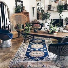 our #antique rugs take new form in @atlantishome's home.  find out how she transformed her bohemian wonderland at http://bit.ly/1Viyps9  #abccarpet #design #sale