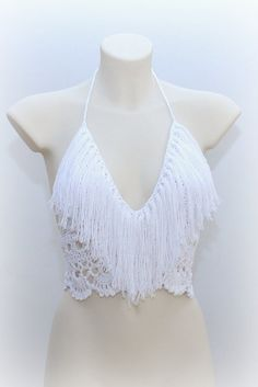White crochet fringe top beautiful white top by SexyCrochetByOlga