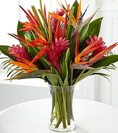 Birds of Paradise and Pink Ginger flower bouquets
