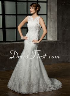 Mermaid V-neck Court Train Satin Tulle Wedding Dress With Lace Beadwork (002011589) - DressFirst http://www.dressfirst.com/Mermaid-V-Neck-Court-Train-Satin-Tulle-Wedding-Dress-With-Lace-Beadwork-002011589-g11589