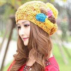 HYL World Women Girls Wool Berets Hat Fashion Cute Solid Color Winter Warm Cap