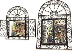 """Moroccan Wrought Forged Iron Wall Mirror in ARCH Design 29"""" X 19.5""""  HAND MADE IN MORROCCO  MEASURES H: 29"""" X 19.5"""" WIDE  ARCH SUN SHAPE  SQUARE MIRROR 13.5 """" X 13.5 INCHES  BRAND NEW CONDITION  SEE IMAGES FOR ITEM DETAILS"""