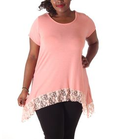Look what I found on #zulily! Pink Lace-Trim Scoop Neck Top - Plus #zulilyfinds