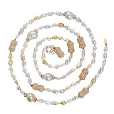 """Margot McKinney Long Keshi and South Sea pearl necklace with """"peanuts"""": nubby nuggets of gold pavéd in diamonds ($31,750)."""