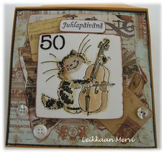 Penny Black cat on vintage and collage card for a man.
