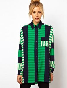 Navy and kelly green shirt in cutabout stripe print shirt - asos.com