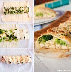 Muss noch veganisiert werden, aber das ist ja ein Klacks Chicken Broccoli Braid http://www.handimania.com/cooking/chicken-broccoli-braid.html