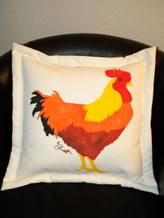Rooster pillow chicken painted indoor outdoor all by crabbychris, $38.00