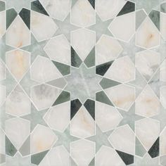 Brie mosaic in Cloud Nine polished, Ming Green polished, Kay's Green polished. Graphic Patterns, Tile Patterns, Kitchen Tile Inspiration, Kitchen Ideas, Unique Tile, Vintage Tile, Tiles Texture, Style Tile, Stone Mosaic