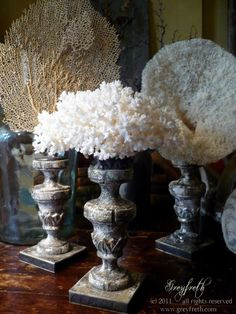 Sea Life Sculpture of White Coral on a beautiful reproduction antique Italian pedestal. Studio 15a, Etsy.