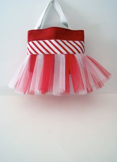 Candy Cane Tutu Tote Bag with Spakle Ribbon on Etsy, $26.00