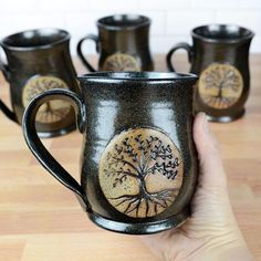 These ceramic pottery mugs are entirely handmade with sturdy stoneware, hand thrown on the potters wheel, and make perfect gifts for anyone who loves coffee or tea! #christiangifts #mothernature #ancestry #geneaology #familytree Ceramic Coffee Cups, Ceramic Mugs, Stoneware, Coffee Mugs, Ceramics Pottery Mugs, Ceramic Pottery, Pottery Gifts, Pottery Ideas, Sister In Law Gifts