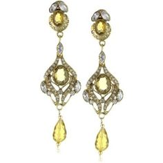"""$150 Taara """"Mughal Collection"""" Topaz and Crystal Chand elier Earrings - designer shoes, handbags, jewelry, watches, and fashion accessories 