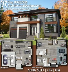 Plan Stately Contemporary House Plan with Loft Plan Statel. Plan Stately Contemporary House Plan with Loft Plan Stately Contemporar Contemporary House Plans, Modern House Plans, Modern House Design, Modern Home Exteriors, Sims 4 House Plans, Modern Floor Plans, Home Modern, Modern Beds, Modern Farmhouse Exterior