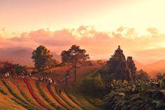 Sunrise over mountain range - Sunrise over mountain range at Hua Nam Dang National Park, Chiang Mai, Thailand.