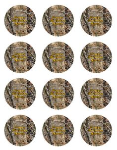 "Real Tree Camo Set of 12 Edible Cupcake Toppers 2"" Round - FREE SHIPPING. $10.00, via Etsy."