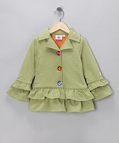 Take a look at this #fall Light Green Ruffle Coat - Toddler & Girls by Chatti Patti on #zulily today!
