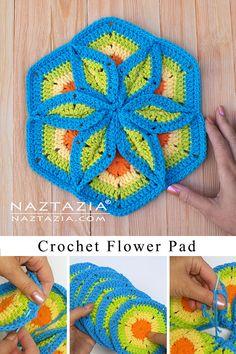 Crochet Potholder Patterns, Crochet Pincushion, Crochet Mandala Pattern, Crochet Ripple, Granny Square Crochet Pattern, Hexagon Crochet, Crochet Crafts, Crochet Projects, Diy Crochet