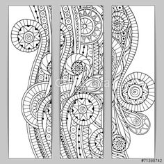 Vector: Abstract hand drawn ethnic pattern card set.