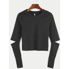 Black Elbow Cut Out Crop T-shirt ($8.99) ❤ liked on Polyvore featuring tops, t-shirts, black, cut out sleeve top, cut out tee, long-sleeve crop tops, long sleeve stretch tee and cut out t shirt