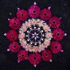 Mandala by Kathy Klein Rangoli Designs Flower, Flower Rangoli, Flower Garlands, Flower Petals, Flower Decorations, Mandala Art, Mandala Nature, Mandala Meditation, Land Art