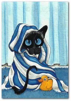 Siamese Cat Wrapped in Bath Towel Rubber Duck ArT by AmyLynBihrle