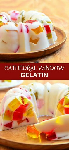 Cathedral Window Gelatin is show-stopping dessert masterpiece perfect for the holidays. Soft, creamy and silky with colorful gelatin, it's as amazing as it looks! via ideas philippines Cathedral Window Gelatin Asian Desserts, Köstliche Desserts, Delicious Desserts, Dessert Recipes, Filipino Desserts, Filipino Recipes, Gelatin Recipes, Jello Recipes, Pinoy Dessert