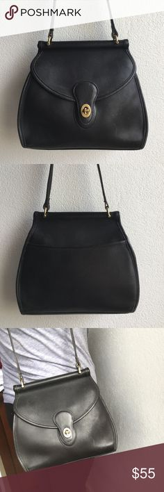 """Vintage Coach Black Legacy Flap Handbag Vintage Coach Black Legacy Flap Handbag. Bag measures 9""""x10"""" inches. Adjustable strap is 44"""". Creed No. 1105-218. Bag has signs of wear and patina, due to bags age. Please look at pictures for better reference. Happy shopping! Coach Bags Shoulder Bags"""