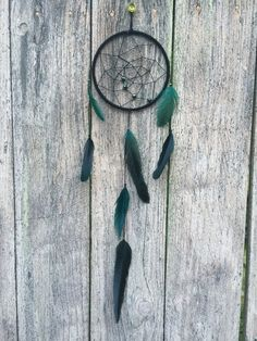 Dream Catcher - Green Black Feather Bead Dreamcatcher - Boho Chic Hippie Wall Art Hanging - Bohemian Gypsy Bedroom Home Decor