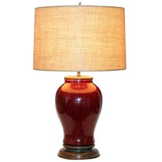 Antique Chinese Porcelain Oxblood Flambe Large Vase Lamp   From a unique collection of antique and modern table lamps at https://www.1stdibs.com/furniture/lighting/table-lamps/