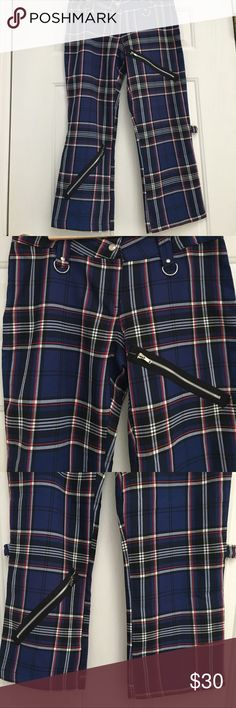 Punk Bondage Pants- Hot Topic Brand new from Hot Topic Cute Blue Plaid Bondage Pants. Snap and zip closure at waist zipper design in pant legs. lip service Pants