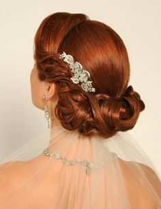 """Beautiful pulled back """"crown"""" bun or chignon with crystal or rhinestone barette/comb/hair accessories with veil tucked underneath - Formal or Wedding Hair"""