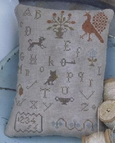 Early Style Alphabet Pillow Pinkeep - Stacy Nash Primitives